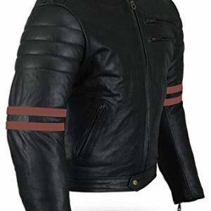b29b6309 Australian Bikers Gear chaqueta moto Cafe Racer en color negro envejecido y  rayas rojas oxblow con protecciones homologadas y extraíbles en talla 4xl