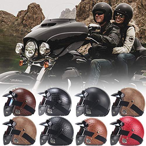 099a8ec3ec StageOnline Casco de Motocicleta Harley en Cuero de PU Chopper Casco ...